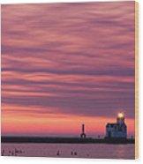 Kewaunee Lighthouse At Sunrise Wood Print