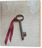 Key On Windowsill Wood Print