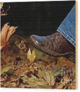 Kicking Fallen Autumn Leaves Wood Print by Oleksiy Maksymenko