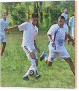 Kicking Soccer Ball Wood Print