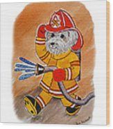 Kids Art Firedog Firefighter  Wood Print