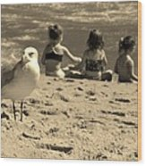 Kids On The Beach - Sepia Wood Print