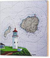 Kilauea Point Lighthouse On Noaa Chart Wood Print