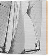 king of the world - a classic sailboat with all sails plying the sea on the island of Menorca Wood Print