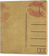 Kiss Lips On Postcard Wood Print