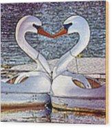 Kissing Swans Wood Print