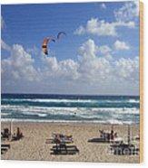 Kite Boarding In Boca Raton Florida Wood Print
