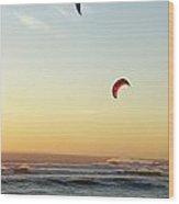 Kite Surfers On Beach At Sunset Wood Print by Sami Sarkis