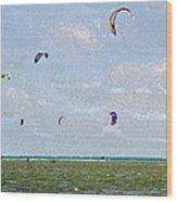 Kites Over The Bay Wood Print