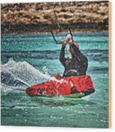 Kitesurfer Wood Print by Stelios Kleanthous