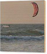 Kitesurfing At Sunset Mandrem Wood Print