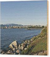 Kitsilano Beach And Vancouver Skyline Wood Print