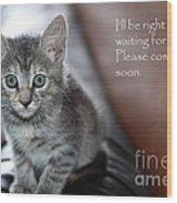 Kitten Greeting Card Wood Print by Micah May