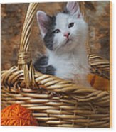 Kitten In Basket With Orange Yarn Wood Print