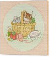 Kittens In Basket Wood Print