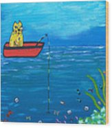 Kittyboy Goes Deep Sea Fishing Wood Print