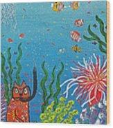 Kittyboy Goes Snorkeling Wood Print