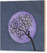 Kittyboy Moon Wood Print