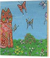 Kittyboy's Butterflies Wood Print