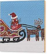 Kityboy Helps Santa Wood Print