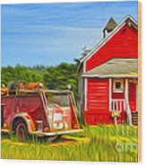Klamath Old Fire Truck And Red School House Wood Print by Gregory Dyer