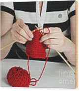 Knitting Wood Print
