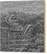 Knobels Wooden Roller Coaster Black And White Wood Print