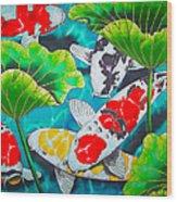 Koi And Lotus Wood Print by Daniel Jean-Baptiste