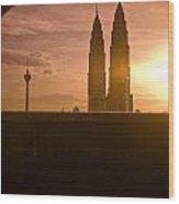 Kuala Lumpura Capital City Twin Towers Wood Print