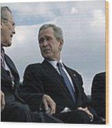 L To R Sec. Of Defense Donald Rumsfeld Wood Print
