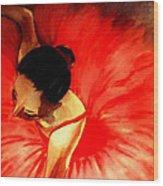 La Ballerine Rouge Dans Le Theatre Wood Print by Rusty Woodward Gladdish