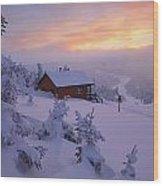 La Chouette Cabin At Twilight, Gaspesie Wood Print