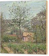 La Maison Rose Wood Print by Camille Pissarro
