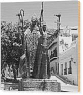La Rogativa Sculpture Old San Juan Puerto Rico Black And White Wood Print by Shawn O'Brien
