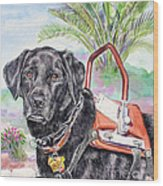 Labrador Retriever Service Dog Wood Print