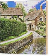Lacock Village Wood Print