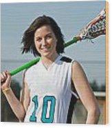 Lacrosse Girl Wood Print