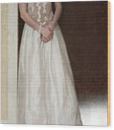 Lacy In Ecru Lace Gown Wood Print