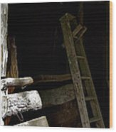 Ladder In The Shadow Wood Print