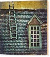 Ladder On Roof Wood Print