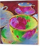 Ladies Tea Time Wood Print