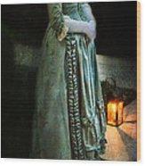 Lady By Lantern Light Wood Print