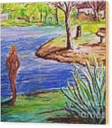 Lady By The Lake Wood Print