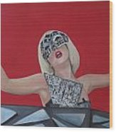Lady Gaga Poker Face Wood Print by Kristin Wetzel