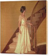 Lady In Lace Gown On Staircase Wood Print