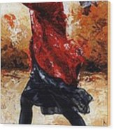 Lady In Red 28 Wood Print