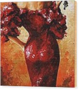 Lady In Red 33 Wood Print