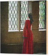 Lady In Tudor Gown Looking Out A Window Wood Print