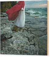 Lady In Vintage Clothing By The Sea Wood Print