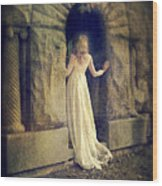 Lady In White Gown In Doorway Wood Print